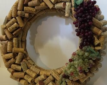 Wine Cork Wreath With Grapes Hand Made Custom Wine Cork Wreath