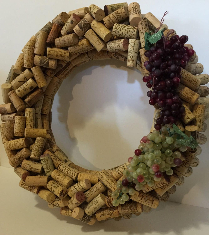 Cork Wreath: Wine Cork Wreath With Grapes Hand Made Custom Wine Cork Wreath