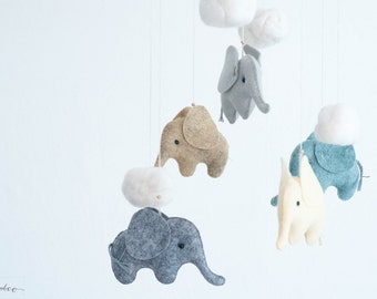 Elephant Mobile - Baby Mobile - Gray Yellow Blue Neutral - Safari Nursery Decor - Baby Shower Gift - Safari Baby Shower - Elephant Nursery
