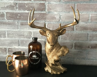 ANY COLOR Faux Deer Head Bust // Bronze Animal Statue // Tabletop Centerpiece // Nursery // Jewelry Holder // Stag Head // Buck // Sculpture