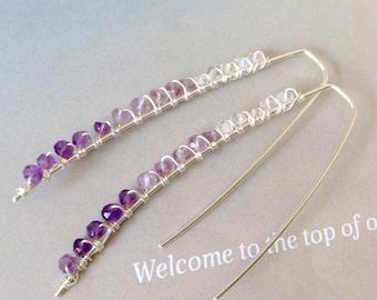 Ombre Minimalist Amethyst Earrings, Moonstone Earrings, sterling silver,  purple gemstones,  natural gemstone, Hessonite