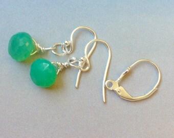 Chrysoprase Earrings, Sterling Silver, Gold Filled, Ear Wires, Lever Backs, Chrysoprase Briolettes, green gemstone, natural gemstones
