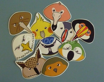 "10 stickers ""heads of birds"""