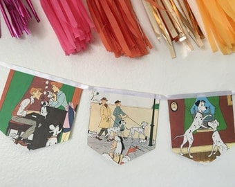 101 Dalmatians disney upcycled book banner