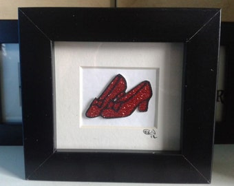 Ruby Slippers Handcut Papercut Art~ Wizard of OZ Gift Art~  Dorothy Shoes~ Wicked~ Fairytale Art~ Retro Gift for her~