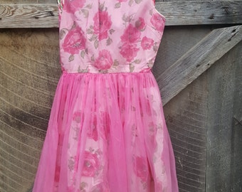 Vintage floral taffeta with nylon overlay dress junior size 15
