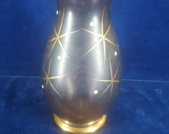 Vintage Bohemia Glass vase purple with gold trim