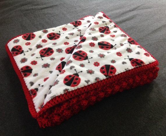 Ladybug Fabric Lined Crochet Baby Blanket