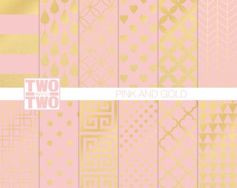 Pink and Gold Digital Paper: Striped, Dots, Herringbone, Star, Heart, and Quatrefoil Patterns, Birthday Party and Baby Shower Background