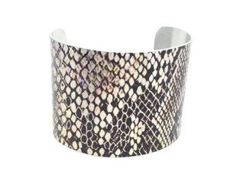 Girlfriend Gift - Snakeskin Bracelet - Snakeskin Cuff - Snake Jewelry - 1980s Style - Gift for Her - Snake Bracelet - Statement Jewelry