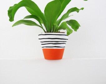 Hand Painted Orange Stripe Plant Pot - 6cm