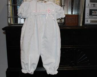 6-9 month baby girl white eyelet dress romper/ jumper