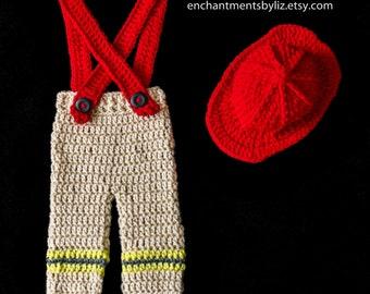 Crochet Newborn Fire Fighter Costume