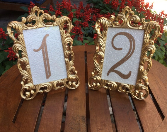 set of 20 table number frames 4 x 6 gold wedding frames ornate. Black Bedroom Furniture Sets. Home Design Ideas