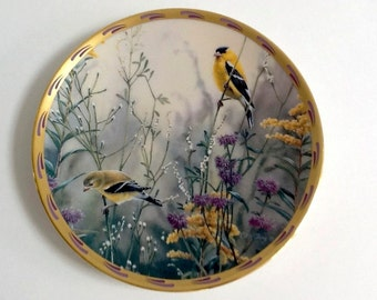 Decorative Plate, Lenox, Catherine McClung, Golden Splendor, Collector Plate, Colorful Birds, Gold Trim