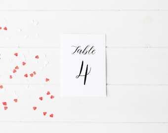 A6 Printed Calligraphy Table Number