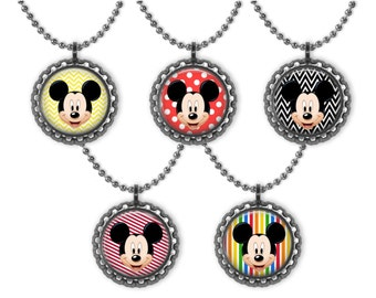 5 Disney MICKEY MOUSE 3D Bottle Cap Necklace  Birthday Party Favors 3