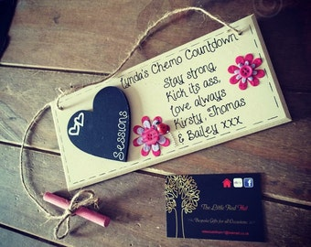 Personalised handmade wooden plaque, chemotheraphy countdown gift
