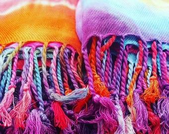Tie dye, rainbow, shawl/headway, shoulder wrap/ sarong.