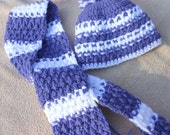 SALE   Crochet hat and scarf, little girl beanie and neck wrap, winter hat and scarf set