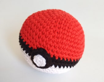Handmade Pokéball shape crochet rattle - MADE TO ORDER -