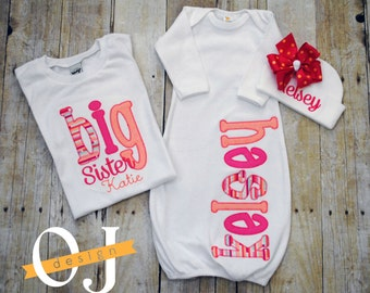Big Sister -  Little Sister Personalized Baby Newborn Gift Set- Name Girl - Bright Pink and Peach Infant Gown - Sisters - Siblings