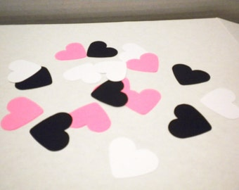100 Hot Pink, White & Black Hearts, Die Cut Hearts, Scrapbook Supplies, Party Confetti, Wedding Decor, Party Decorations, Baby Showers,