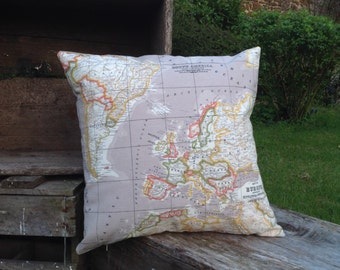Beige Vintage World Map Cushion Cover