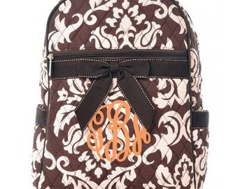 """Personalized Quilted Damask Backpack with Bow - Medium 13"""" Brown and Pink with Brown accents - DAQ2716-BRPK"""