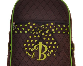 "Personalized Quilted Backpack with Bow - Large 15"" Brown with Lime Green Accents and Polka Dot Bow- QSD2732-BRLM"