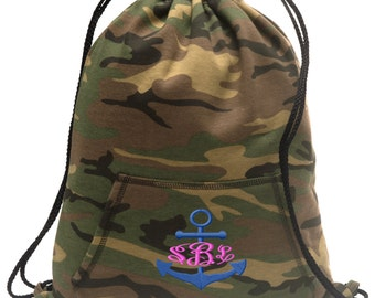 Sweatshirt material cinch bag with front pocket and embroidered spirit design - Anchor - Multiple Colors - Camouflage - BG614