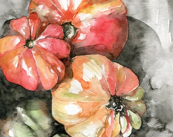 tomatoes painting, watercolour print, art print, kitchen art, wall art, 8 x 10, watercolor, food art, kitchen decor, red orange tomatoes