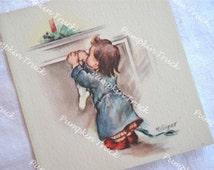 Vintage Christmas Card  -  Child Hanging Stocking - Unused Rust Craft Marjorie Cooper