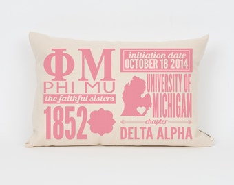 phi mu custom sorority facts pillow greek letter pillow big little gift sorority letters sorority gift dorm decor