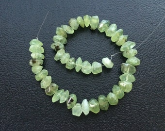 Full Strand Natural Prehnite Faceted Freeform Nugget Beads