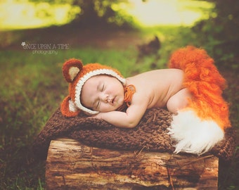 Forest Fox Set - rustic fox set - fox bonnet - newborn fox photography prop - newborn fox set - newborn photography prop