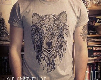 Wolf Print T-shirt, Wolf Tshirt, DTG Printed Tshirt, Wolf Illustration, Ornate Wolf, Ornate Wolf Tshirt, Mens Tshirt, Clothing Apparel