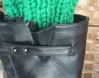 Boot cuffs, Green leg warmers,  Boot accessories, One Size Fits All winter fashion for women