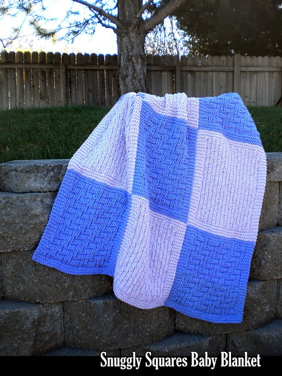 Knitting Pattern Afghan Squares : Snuggly Squares Baby Blanket Knitting Pattern