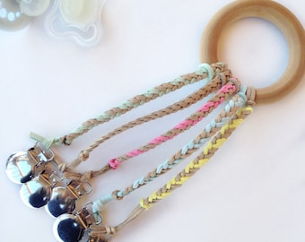 Sparkle Gold Collection: Leather Braided Binky Clip -(modern pacifier clip, boy, girl, gender neutral, faux suede, glitter, pink, mint, blue