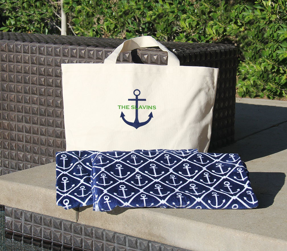 Monogrammed Beach Towel And Bag Set: Anchor Beach Towel & Tote Set And By BridalPartyRobeShop