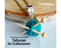 """PDF Tutorial download to create Pendant from Cotton Jewelry """"Talisman for Craftswomen"""""""