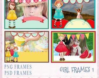 Girl Frames, Photo Frame, PSD frames, Layered frames,  Digital Frames, PSD Template, Scrapbook Frames, Frame Clipart,  Instant Download
