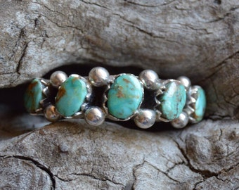Native American Kingman Turquoise Ring Nugget Ring on Sterling Silver