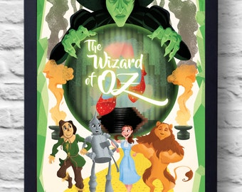 The Wizard of Oz- Movie Poster Print, film illustration, art, painting, gift
