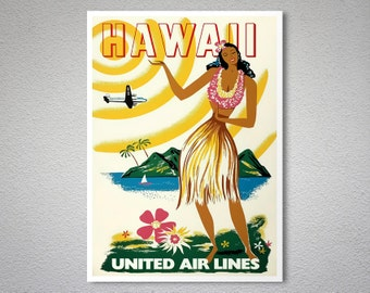Hawaii United Airlines Vintage Travel Poster - Art Print - Poster Paper, Sticker or Canvas Print