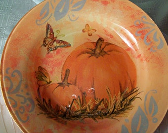 Decoupage glass dish  pumpkins and butterflies/Decoupage on glass
