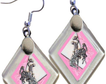 "Earrings ""Wyoming Bucking Horse & Rider(TM) in Pink"" from rescued, repurposed window glass~Licensed Product"