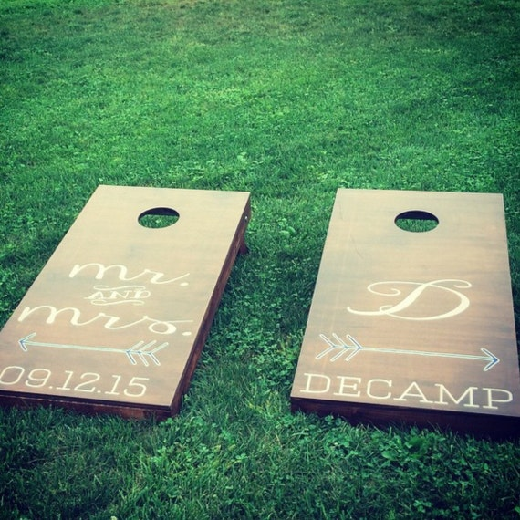 Custom Monogram Wedding Cornhole Boards Custom Decal Full Wedding