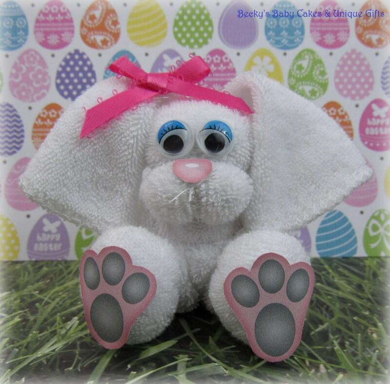 Washcloth Bunnies: Baby Washcloth Bunny Diaper Cake Baby By BeckysBabyCakesandUn